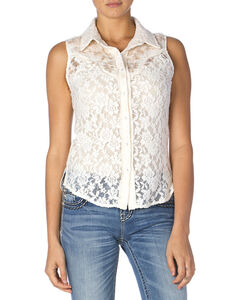 Miss Me Women's Lace Button-Down Sleeveless Shirt, , hi-res