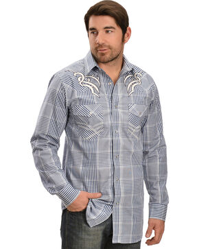 Red Ranch Blue & White Plaid Retro Shirt, Blue, hi-res