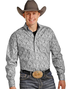 Panhandle Men's Tuf Cooper Performance Grey Paisley Western Shirt , Grey, hi-res