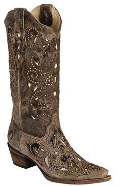 Corral Crater Bone Studs & Inlay boots, , hi-res