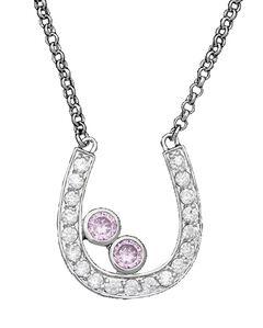 Montana Silversmiths Clear & Pink Rhinestone Horseshoe Necklace, , hi-res