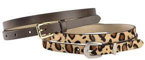 Red Ranch Leopard Print Hair-on Hide & Brown Skinny Belt Set, Leopard, hi-res