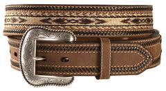 Nocona Aztec Horsehair Inlay Leather Belt, , hi-res