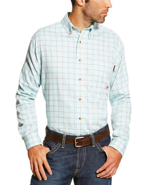 Ariat Men's Blue FR Rockford Work Shirt, Blue, hi-res
