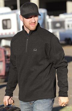 Cinch Men's Solid Black 1/4 Zip Fleece Pullover, , hi-res
