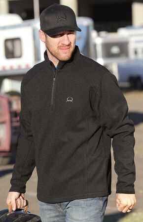 Cinch Men's Solid Black 1/4 Zip Fleece Pullover, Black, hi-res
