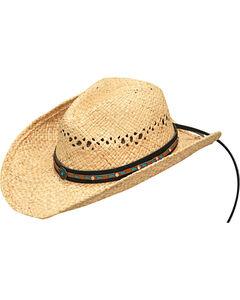 Blazin Roxx Women's Natural Turquoise Accents Raffia Hat , , hi-res
