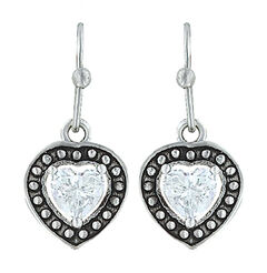 Montana Silversmiths Women's Pin Point Framed Heart Earrings , , hi-res