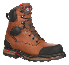"Rocky Men's Elements Dirt Waterproof 8"" Work Boots - Steel Toe, Brown, hi-res"