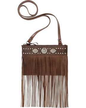 American West Saratoga Collection Fringe Crossbody Pouch, Brown, hi-res