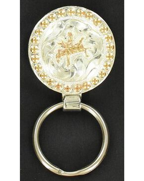 Silver & Gold-Tone Bucking Bronco Key Ring, Black, hi-res