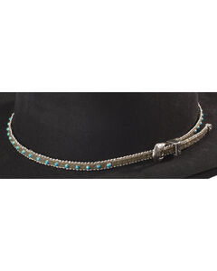 Faux Turquoise Stone with Silver-Tone Beaded Edge Leather Hat Band, , hi-res