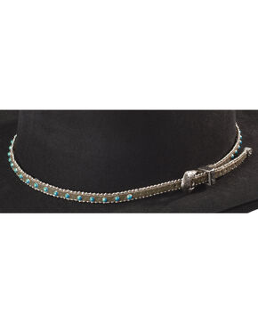 Faux Turquoise Stone with Silver-Tone Beaded Edge Leather Hat Band, Tan, hi-res