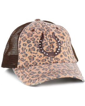 Shyanne Women's Canvas Leopard Print Ball Cap, Brown, hi-res