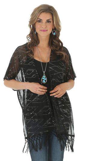 Wrangler Rock 47 Women's Sequin Kimono, Black, hi-res