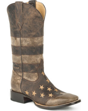 Roper Men's Brown Working Man's American Flag Boots - Square Toe , Brown, hi-res