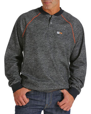 Cinch Men's Flame Resistant Long Sleeve Henley, Charcoal, hi-res