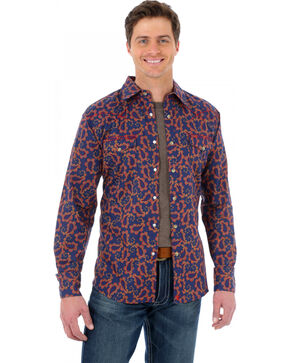 Wrangler 20X Navy Blue and Red Paisley Western Shirt, Navy, hi-res