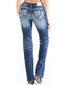 Grace in LA Women's Tribal Pocket Jeans - Boot Cut , Dark Blue, hi-res