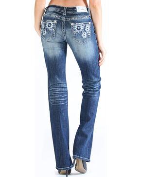Grace in LA Women's Tribal Pocket Jeans - Boot Cut , Dark Blue, hi-res