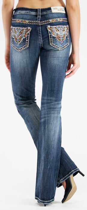 Grace in LA Women's Dark Wash Diamond Cross Bootcut Jeans  , Indigo, hi-res