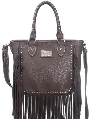 Montana West Trinity Ranch Fringe Design Handbag, Dark Brown, hi-res