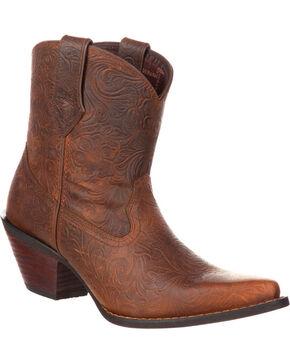 Crush by Durango Women's Brown Western Embossed Booties - Snip Toe , Brown, hi-res