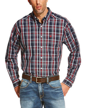 Ariat Men's Navy Vega Wrinkle Free Western Shirt , Navy, hi-res