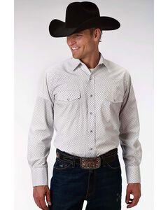 Roper Men's White Geo Pattern Long Sleeve Western Shirt , White, hi-res