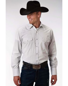 Roper Men's White Geo Pattern Long Sleeve Western Shirt , White, hi-res