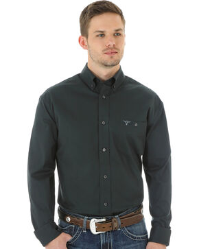 Wrangler 20X Advanced Comfort Men's Charcoal Button Shirt, Charcoal Grey, hi-res