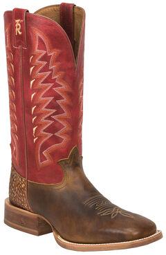 Tony Lama Tan Cuero 3R Western Cowboy Boots - Square Toe , , hi-res