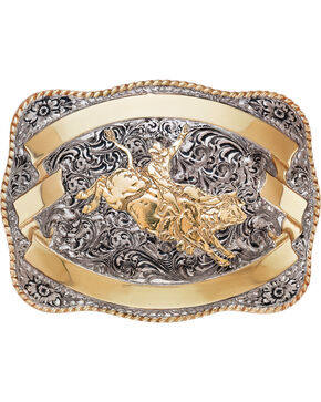 Crumrine Men's Silver Bull Rider Belt Buckle, Silver, hi-res