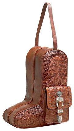 American West Zip-Around Antique Tan Leather Boot Bag, , hi-res