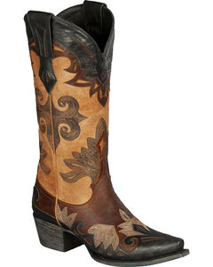 Lane Boots Maggie Black & Tan Cowgirl Boots - Snip Toe, , hi-res