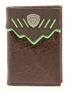 Ariat Trifold Shield Concho Wallet, Brown, hi-res