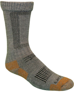 Carhartt Grey Merino Wool Comfort-Stretch Steel Toe Socks, Grey, hi-res