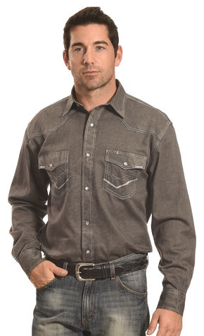 Crazy Cowboy Men's Grey Stitch Trim Western Snap Shirt , Grey, hi-res