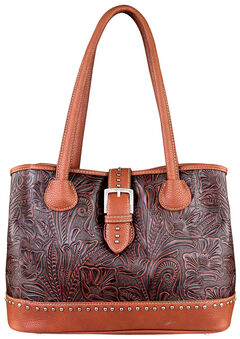Montana West Trinity Ranch Tooled Design Concealed Handgun Collection Handbag, Brown, hi-res