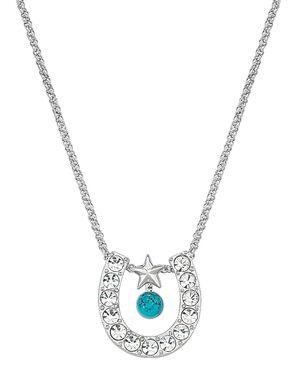 Montana Silversmiths Rhinestone Horseshoe with Turquoise Bead Necklace, Multi, hi-res