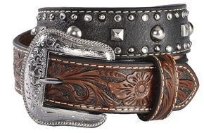 Nocona Kids' Hand Tooled Billets & Studded Belt, Black, hi-res