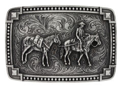 Montana Silversmiths Men's Tied at the Corners Attitude Pack Horse Belt Buckle, , hi-res