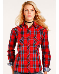 Rough Stock by Panhandle Women's Red Canarsie Plaid Shirt , , hi-res