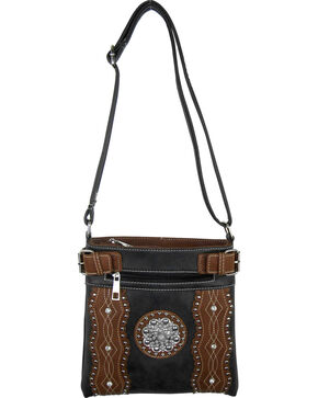 Savana Black Silver Concho Crossbody Bag, Black, hi-res