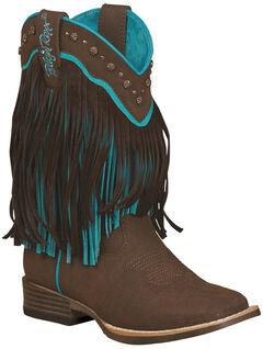 Blazin Roxx Girls' Candace Zipper Fringe Boots - Square Toe, , hi-res