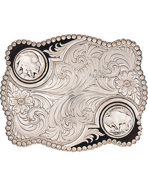 Montana Silversmiths Antiqued Buffalo Nickel Buckle, Silver, hi-res