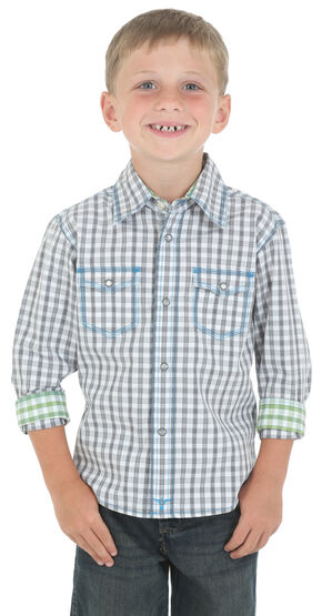 Wrangler 20X Boys' Grey and White Check Western Shirt, Grey, hi-res