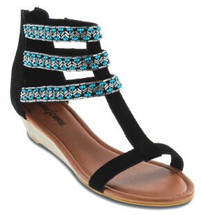 Minnetonka Monte Carlo Beaded 3 Strap Sandals, Black, hi-res