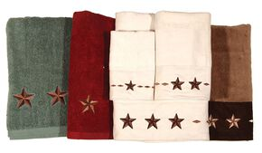 Three-Piece Embroidered Star Bath Towel Set - Cream, Natural, hi-res