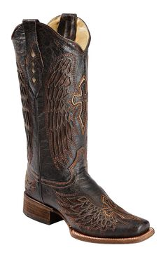 Corral Distressed Wing & Cross Inlay Cowgirl Boots - Square Toe, , hi-res